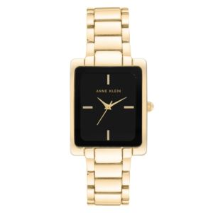 Women's Black and Gold Rectangle Watch AK-2994BKGB