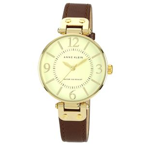Women's Gold-Tone Round Brown Leather Strap Watch 10-9168IVBN