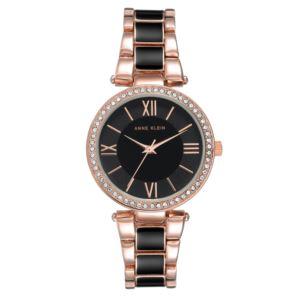 Women's Black and Rose Gold Crystal Bezel Watch AK-3014BKRG