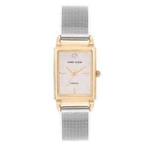 Women's Gold and Silver Rectangular Diamond Watch AK-3037SVTT