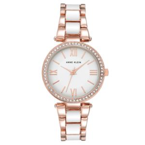 Women's White and Rose Gold Crystal Bezel Watch AK-3014WTRG