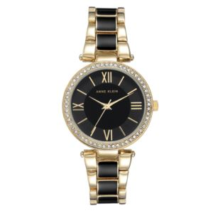 Women's Black and Gold Crystal Bezel Watch AK-3014BKGB