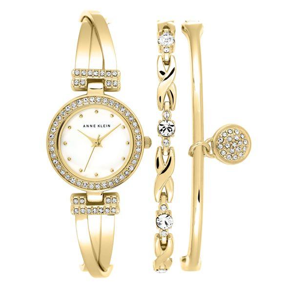 Women's Gold Bracelet Watch Set AK-1868GBST