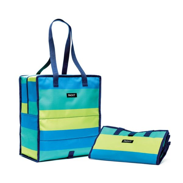 Freezable Grocery Tote Bag, Fresh Stripe PKT-GT-FST