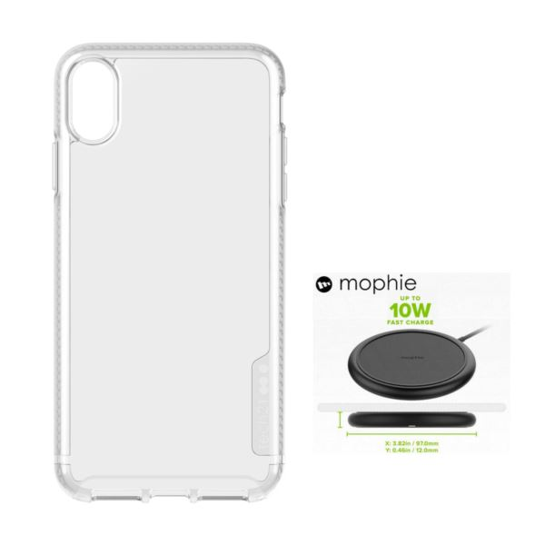 Tech 21 Pure Clear Case for iPhone XS Max(Clear)  + Mophie Charge Stream Pad (Black) T21XMC-MOBL