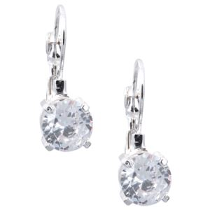 Silver-Tone Round-Cut Crystal Drop Earrings 79943761-G03